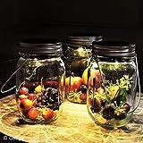 Gadgy ® Solarglas Einmachglas   Set 3 Stück mit 5 LED's   Warmweiß Licht   Solar Lampe für Außen   Garten Laterne - 2