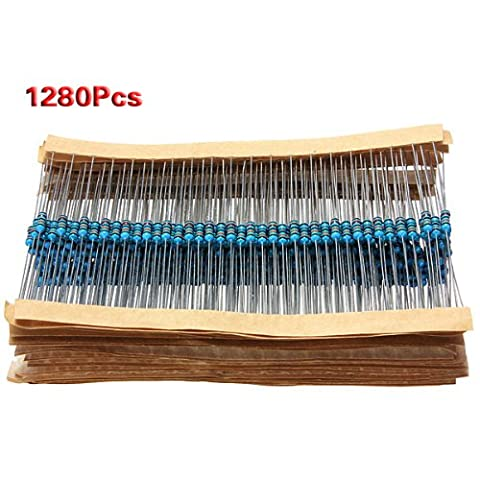 SODIAL(R) 1280pcs 64 Values(1R~10MR) Ohm 1/4W 0.25w ¡À1% Metal Film Resistor Kit Assortment