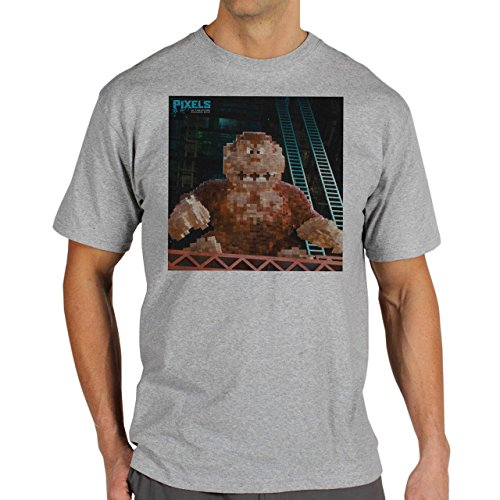 Pixels Movie Gorilla Background Herren T-Shirt Grau