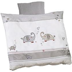 roba Wiegenbettwäsche 2-tlg, Wiegenset Kollektion 'Jumba twins grau', Baby Bettwäsche 80x80 (Decke & Kissen), 100% Baumwolle