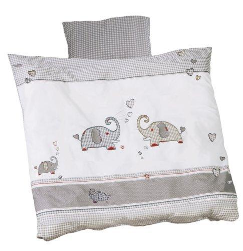 roba Wiegenbettwäsche 2-tlg, Wiegenset Kollektion 'Jumbotwins', Baby Bettwäsche 80x80 (Decke & Kissen), 100% Baumwolle