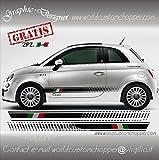 2 KIT FASCE ADESIVE FIAT 500 ITALIA + 2 LOGHI 500 + 2 OMAGGI BANDIERINE FRECCE (ROSSO)