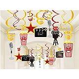 Bdecoll 30 Stück Hänge-Deko/Hollywood Girlanden /Film Folie Swirl Hängende Dekorationen, Hollywood Film Themen Hängende Swirl Oscar Party Decor Favors Supplies