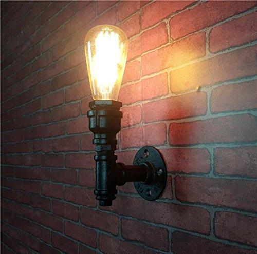ZT Edison Schmiedeeisen Wandleuchten Industriell Metall Wasserrohr Wandlampe Steampunk (Malen Grundierung Außen)