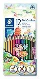 Staedtler Noris Colour 187, Crayons de couleur triangulaires en matériau innovant WOPEX, Mine douce de 3 mm ultra-résistante, Étui carton avec 12 couleurs vives assorties, 187 C12