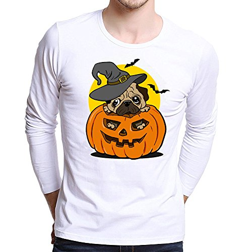 UJUNAOR Männer Halloween Top Plus Size Gedruckt Tees Shirt Langarm Frauen-Halloween Kürbis T Shirt Bluse Viele Muster XS Bis 4XL(Gelb,CN L)
