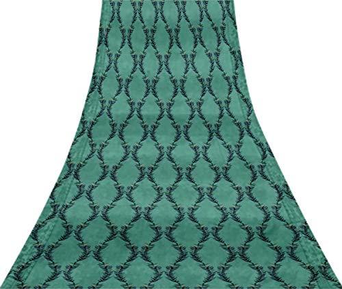 Svasti Lorbeerblätter Vintage-Silk Sari Light Blue Schneiderei Refurbished Craft Fabric Saree 1 Yard Gebraucht Blue Silk Sari