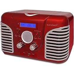 Sunstech RPRD2600RD - Radio de sobremesa, con diseño retro (FM, PLL, altavoz, CD, USB, Aux-In, 7 W RMS) color rojo