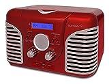 Sunstech RPRD2600RD - Radio de sobremesa, con diseño retro (FM, PLL, altavoz, CD, USB, Aux-In, 7 W...