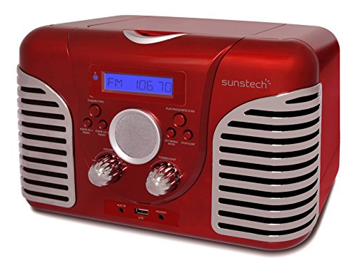 Sunstech rprd2600rd Desktop-PC, mit Retro-Radio (FM PLL, Lautsprecher, CD, USB, AUX-IN, 7 Watt RMS) rot
