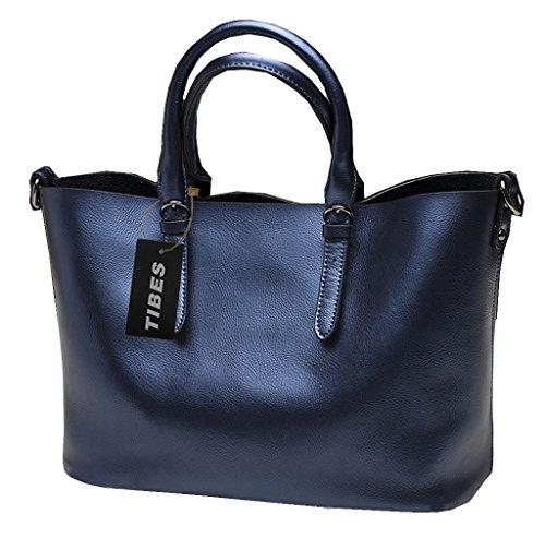 Tibes Cuero genuino bolsa de vacaciones grandes bolsa de señora bolso de mano Azul