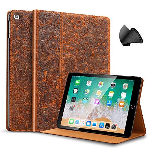 gexmil Hülle für Apple iPad 9.7 Zoll 2018/2017, Gilt Rindsleder Folio Hülle für iPad 6. Gen / 5. Gen Echt Leder, Gilt auch für iPad Air 2 / iPad Air,Leder Tang Gras Muster