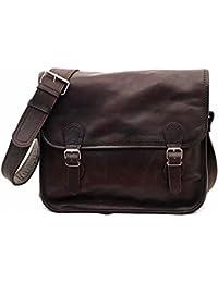 LA SACOCHE (M) INDUS Bolso bandolera de piel, estilo vintage, color marrón oscuro PAUL MARIUS Vintage & Retro