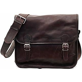 PAUL MARIUS LA SACOCHE (M) INDUS Bolso bandolera de cuero, estilo vintage, color marrón oscuro Vintage & Retro