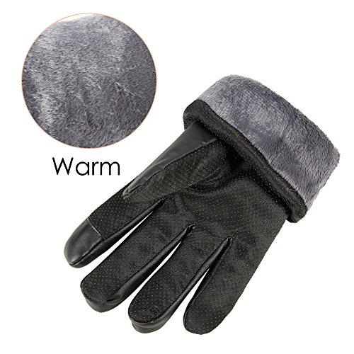 GLOUE Herren Handschuhe Warme Handschuhe Winter Outdoor-Sport Wasserdicht Winddicht Touchscreen Winterfest Rutschfest Abriebfest Fahrrad Motorrad Skilaufen Schwarz - 4