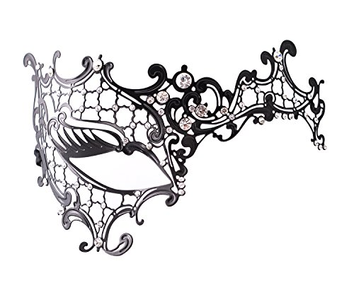 DSstyles Laser Cut Cosplay Metall venezianischen Maskerade Hübsche Halbmaske mit Strasssteinen Maskefür Frauen/Dame - (Für Paare Masken Maskerade)