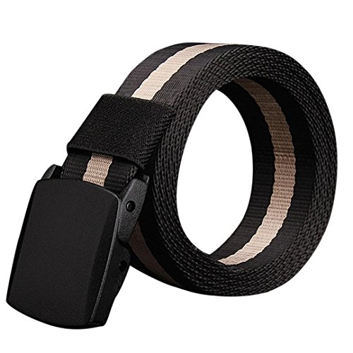 Culater® Men Fashion Canvas Belt Hypoallergenic Metal free Automatic Buckle