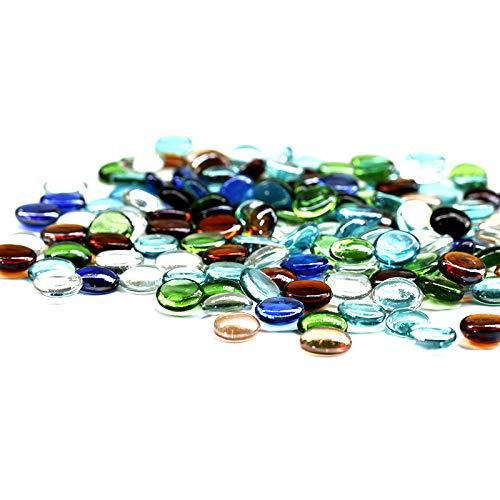 Simple Culture 500 g (ca. 98) Bunt gemischte Glaskiesel/Steine/Nuggets/Perlen/Edelsteine (natürlich) H 2 cm - Glas Kamin Edelsteine
