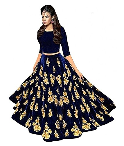 Radhe Creation Women's Embroidered Semi Stitched Anarkali Gown (Mor1_Blue_Freesize)