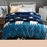 Xuan - worth having Imagen de Animal Azul Marino Dormitorio de invierno Estudiantes Manta Franela Espesar Edredones Sábanas térmicas ( Tamaño : 180*200cm )