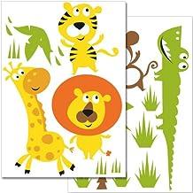 Pegatinas para la pared Wandkings «Animales de la selva de colores» - Juego de adhesivos de 28 unidades en 2 hojas DIN A4