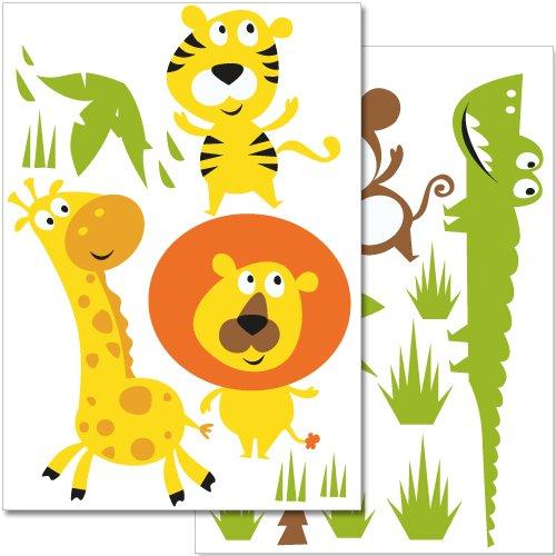 adesivi-da-parete-wandkings-animali-della-giungla-colorati-set-adesivi-28-adesivi-su-2-fogli-din-a4