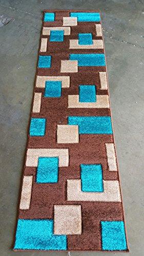 VEGAS Moderner Bereich Teppich Moderne Geometrische türkis Braun Beige Teppich King Design 1006(5Fuß 5,1cm X 7Füße Zoll) 31 inch X 7 Feet 2 inch Turquoise #1002 (Braun-teppiche 5x7 Und Türkis)