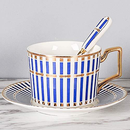 TRER Passionskaffeetasse mit Löffel - Premium Porzellan - Made in China - Spülmaschinen- und mikrowellengeeignet - 260 ml Fassungsvermögen (Color : H) (Besteck Made Nicht In China)