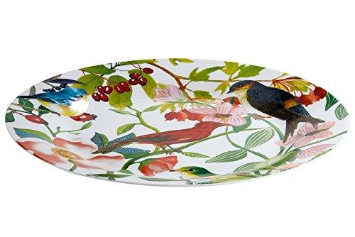 Gilde Plaque/Assiette Porcelaine osseuse avec des fleurs et la décoration des oiseaux \\