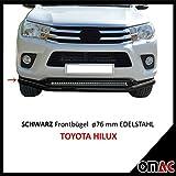 Frontal estribo Protección Frontal Negro 76mm para Toyota HiLux a partir de 2015