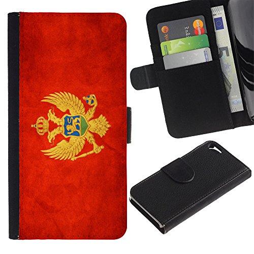 Graphic4You Vintage Uralt Flagge Von Schottland Schottisch Design Brieftasche Leder Hülle Case Schutzhülle für Apple iPhone SE / 5 / 5S Montenegro Montenegrinischen