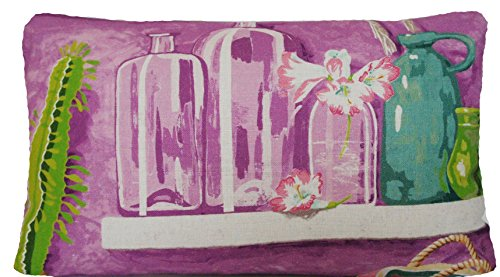CopACABana Kissenbezug Manuel Canovas Pink Grün Violett Leinen Rechteck (Stoff Toile Asiatische)