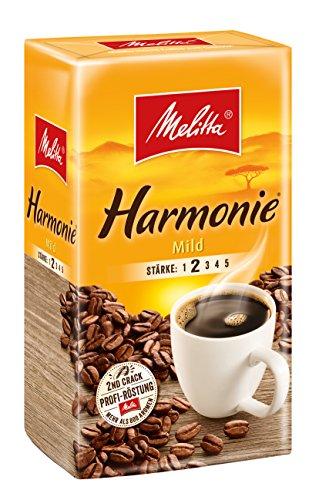 Melitta Gemahlener Röstkaffee, Filterkaffee, feines Aroma, milder Röstgrad, Stärke 2, Harmonie...