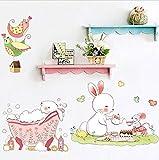 KUANGJING SelbstklebendeWand StickerCartoon Niedlichen Kaninchen Dusche Wandaufkleber Kunst Dekoration für Wohnzimmer Kinderzimmer Kindergarten Kinderzimmer Wandtattoos