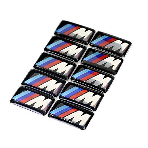 Myhonour 10 x BMW M Emblem Sticker Aufkleber, BMW M 3D Emblem Sticker Lenkrad, Felgen Aufkleber für BMW M3 M5 M6 E46 E36 E60 (1)