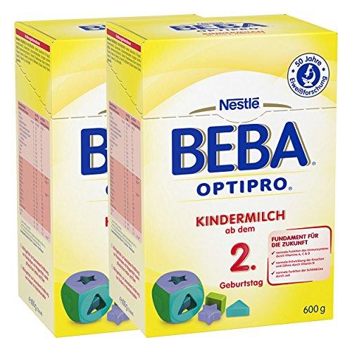 Nestlé BEBA Optipro 2, Kindermilch, Babynahrung, ab 2 Jahren, 2 x 600 g, 12310027