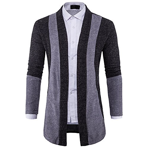 Xmiral Herren Jacke Slim Fit Strickpullover Mode Baumwollmischung Cardigan Langen Trenchcoat (XXL,Schwarz)