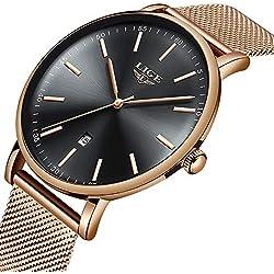 LIGE Montre Homme Mode Simple Noir Imperméable Analogique Quartz Date Sport Acier Inoxydable Maille Or Bracelet Montre