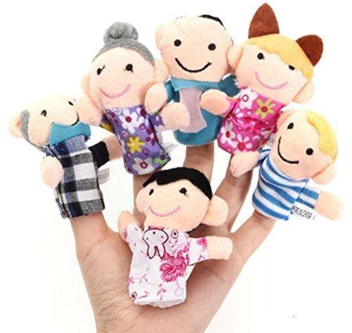Lot de 6 Marionnettes à doigts cooplay - jeu familial, en peluche, pour bébé, doux et fait à la main