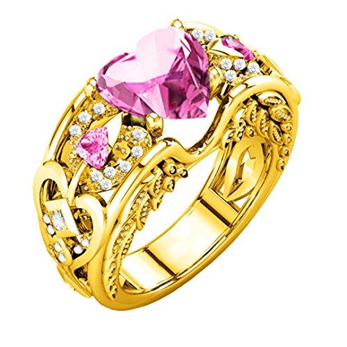 Schmuck Damen-Ring, Dragon868 Silber natürliche Rubin Edelsteine Birthstone Braut Hochzeit Engagement Herz Ring (10, Rosa) (Gold Rosa Saphir Ring Rose)