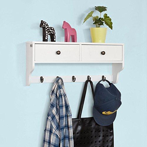 SoBuy® FRG178-W Wandschrank Wandgarderobe Wandregal Hängeregal mit 2 Schubladen und 5 Haken MDF weiß