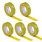 5 Rollen VDE Isolierband Isoband Elektriker Klebeband PVC 15mm x 10m DIN EN 60454-3-1 Farbe: gelb/grün