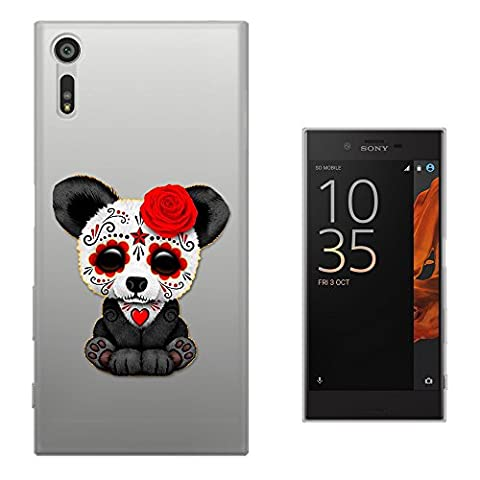 c01047 - Cool Emo Panda Sad Face Red Flower Face Paint Tattoo Design Sony Xperia XZ 5.2