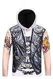 Pizoff Unisex Hip Hop Cosplay Sweatshirt Maskerade Kapuzenpullover mit Bunt Tattoo 3D Motorräder Digital Print - Ag002-08 - Small