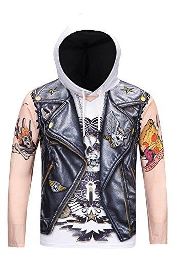 Pizoff Unisex Hip Hop cosplay Sweatshirt Maskerade Kapuzenpullover mit Bunt Tattoo 3D Motorräder Digital Print (Tattoo-print-tee)