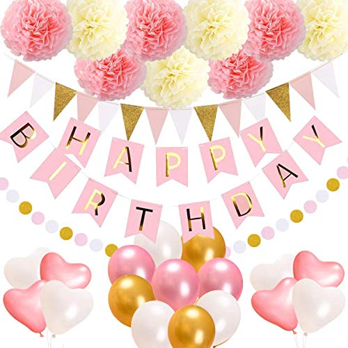 Playworld Geburtstag Dekorationen Party Supplies, Alles Gute zum Geburtstag Banner, 15 Dreieck Bunting Flags, 9 Pom Poms Blumen, 17 Geburtstag Ballons, 1 Pink und Gold Dot Garland für Kinder Mädchen (Ballons Geburtstag 17)