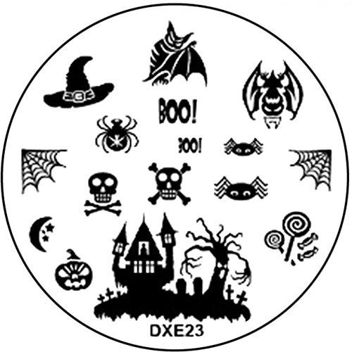 STAMPING-SCHABLONE # DXE-23 Halloween Fledermaus Hexe Geisterschloß BOO! Spinnennetz Spinne Kürbis