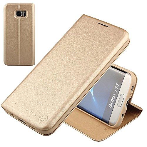 Nouske Lederklapphülle für Samsung Galaxy S7 Hülle Tasche Handgefertigt geschwungene Kanten mit Aufsteller und Kartenfach TPU Schutzhülle Cover Gold.