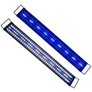 aquarien eco 34w led aquarium beleuchtung aufsetzleuchte blau wei lampe 90 115cm a077 amazon. Black Bedroom Furniture Sets. Home Design Ideas