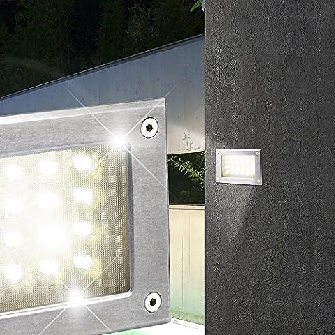 MIA Light Wand Einbau Leuchte AUSSEN Ø165mm/ LED/ Silber/ Edelstahl/ Strahler Lampe Aussenlampe Aussenleuchte Aussenstrahler Einbaulampe Einbauleuchte Einbauspot Einbaustrahler Wandeinbaulampe Wandeinbauleuchte Wandeinbauspot Wandeinbaustrahler